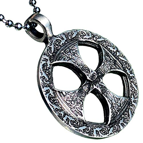 Medieval Norse Viking Jewelry Sunwheel Celtic Sun Wheel Shield Solar Cross Protection Amulet Pewter Men's Pendant Necklace Charm Wealth Travel Medallion Victory Talisman for men w Silver Ball Chain