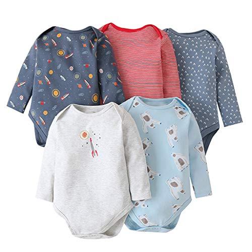 Pack de 5 Bebé Niños Niñas Body Mono de Manga Larga Mameluco Algodón Peleles Pijama Regalo de Recien Nacido, 3-18 Meses