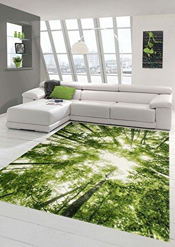 Designer und Moderner Teppich Kurzflor Wohnzimmer Teppich Wald in Grün Weiss Größe 120x170 cm