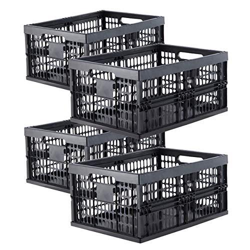 Grizzly Klappbox 4 er Set - faltbar aus Kunststoff - Einkaufskiste klappbar und stapelbar 32L schwarz