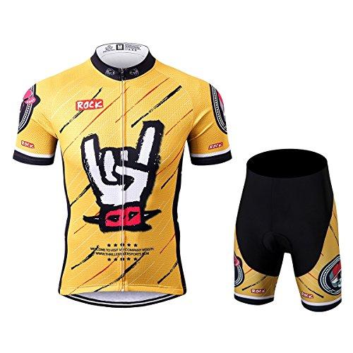 Thriller Rider Sports® Herren Rock Music Yellow Sport & Freizeit MTB Fahrradbekleidung Radtrikot und Kurze Hose Anzüge Large