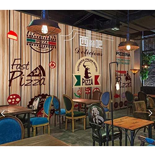 Europese Fast Food Pizza Restaurant Behang Papier, Roll voor Bar Houten Stijl Achtergrond Muur, Art Muurdecoratie 280 cm (B) x 180 cm (H)