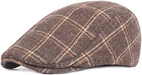 AZHAO Mens Womens Winter Woolen Plaid Painter Beret Caps Outdor Adjustable Peaked Cap (Color : Color Khaki, Size : One Size)