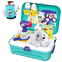 16-piece pretend play pet vet set with plush dog, scissors, hair dryer, brush, faucet, food box, shower gel bottle and other accessories. This Mini puppy salon set helps in pet products recognition, use of tools and increase creativity while having f...
