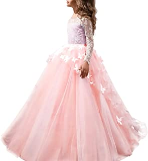 FYMNSI Flower Girls Lace Butterfly Appliques First Communion Dress Long Sleeves Princess Ball Gown Wedding Dress 2-13T