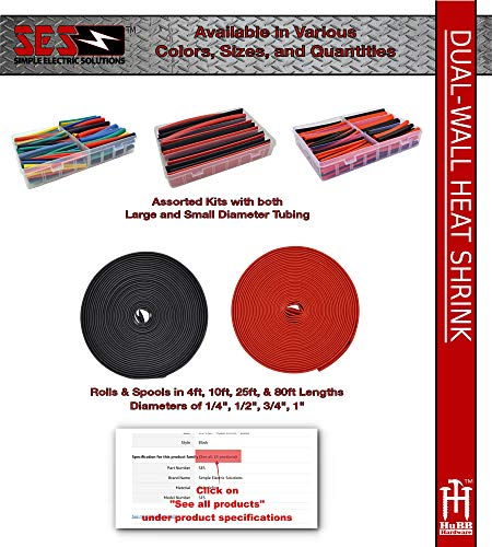 130 PC. Dual Wall Adhesive Marine Heat Shrink Kit - 3:1 Shrink Ratio - Black and Red