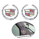Grille Wreath Emblem for Cadillac,2 Pcs 2.43 inch 3D Cadillac Logo Symbol Stickers Metal Decals for Cadillac Escalade ATS SRX XTS CTS XT5 XLR, Silver