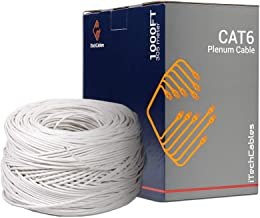 CAT6 Plenum Cable 1000FT 23AWG Solid Conductor UTP CMP White 550MHz