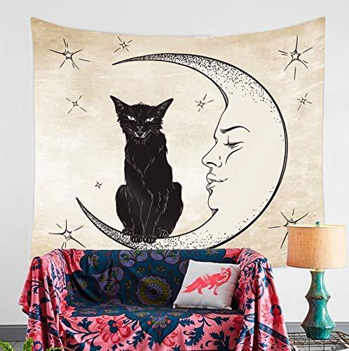 KDENDGGA Gato Negro sobre La Luna Tapiz Tapices Tapices Manta De Playa Yoga Meditación Alfombras Queen Colcha 200 * 150 Cm: Amazon.es: Hogar