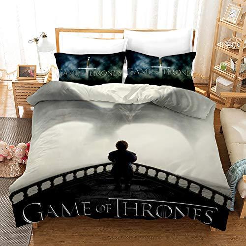 Game of Thrones Juego de Fundas de Edredón Incluye 1 Funda Nórdica 200x200 cm y 2 Fundas de Almohada 50x75 cm Juego de Ropa de Cama de 3 Piezas Cierre de Cremallera Microfibra para Niños Niñas
