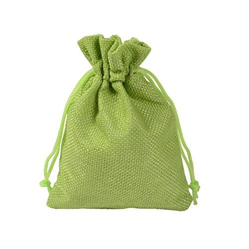 CLTPY 20 Pezzi Drawstring Jute Bag Gioielli Borse Sacchetto Regalo Halloween e Natale Confezione Regalo 10x14cm/3,5x4,7in (Verde)