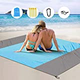 Beach Blanket,Oversized 82Inx 79In Lightweight Beach Mat with Portable Bag and 4 Fixed Nails for Beach Travel,Camping,Hiking and Family Picnic(Blue and Gray)
