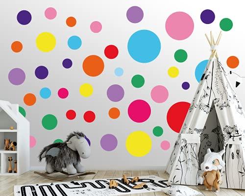 Wandtattoo Punkte fürs Kinderzimmer - 100 Wandsticker Set - Pastell Farben für Baby Kinderzimmer zum Kleben Wandaufkleber Sticker Dekoration - Wandfolie Dots Kreise Bunt Farben Farbenfroh für Kinder