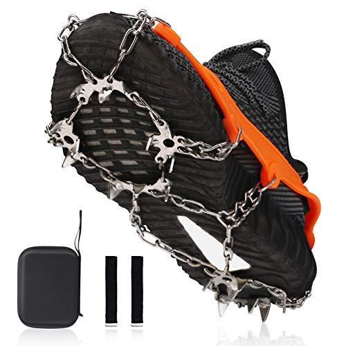 Linkax Ice Klampen Steigeisen mit 19 Zähne Hohe Festigkeit Edelstahl Steigeisen mit Verdicktes TPE-Band für Winter Walking Wandern Bergsteigen Angeln (L)