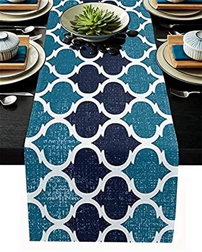 Camino de mesa de San Valentín, patrón retro de Marruecos con geometría vintage, azul marino, antideslizante, para uso diario, mesa de centro, cenas familiares, fiestas, reuniones, 14 x 72 pulgadas