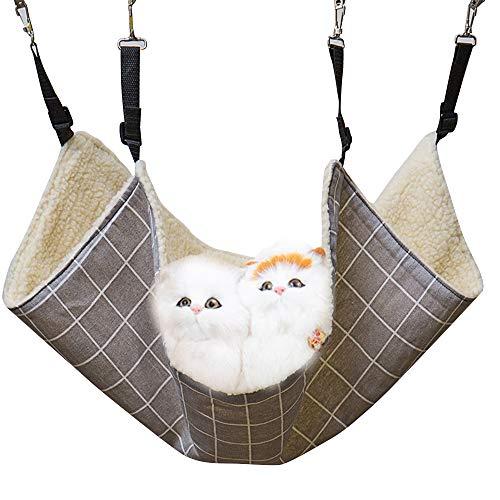 PET SPPTIES Hängematte Käfig Katzenhängematte Hängendes Bett für Katzen, Frettchen, Ratte, Kaninchen, Kleine Hunde oder Andere Haustiere PS037 (L:58 * 48cm, Grey Plaid, Plush)