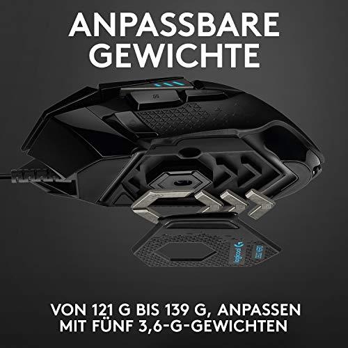 Logitech G502 HERO High-Performance Gaming-Maus mit HERO 25K DPI optischem Sensor, RGB-Beleuchtung, Gewichtstuning, 11 programmierbare Tasten, anpassbare Spielprofile, PC/Mac, Schwarz - 4