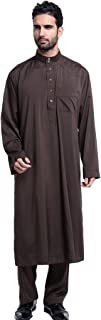 GladThink Men's Thobe with Long Sleeves Arab Muslim Wear Calf Length and with Pants