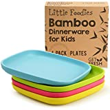 Bamboo Kids Plates, 4 Pack Set, Stackable Bamboo Dinnerware for Kids, Bamboo Fiber Kids Plates Set,...