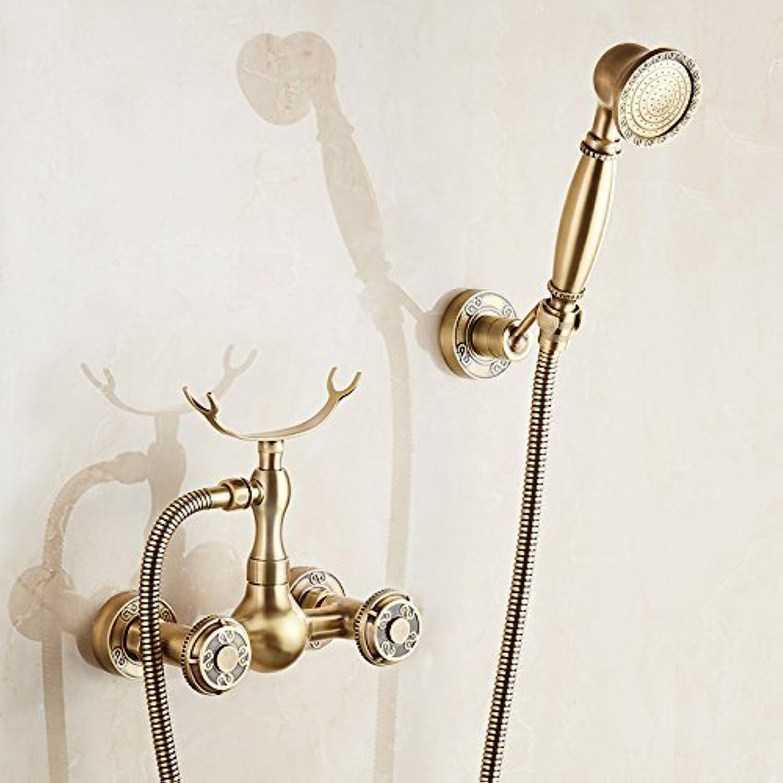 Im europischen Stil, an der Wand montierten Duscharmaturen Dual Griff Heies und Kaltes Wasser Handheld künstlerische Dusche Wasserhahn Kit