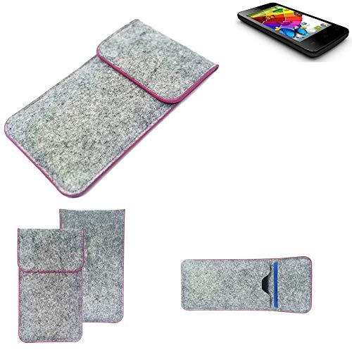 K-S-Trade® Handy Schutz Hülle Für Mobistel Cynus E4 Schutzhülle Handyhülle Filztasche Pouch Tasche Case Sleeve Filzhülle Hellgrau Pinker Rand