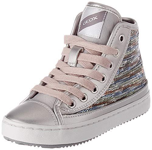 Geox J Kalispera Girl D Sneaker, (Dk Silver), 35 EU