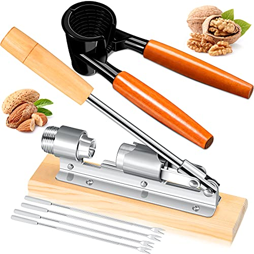 Benver 6 Pieces Nut Crackers Set, Include Wood Handle Pecan Nut Cracker, Adjustable Desktop Nut Crackers Non-Slip Nut Plier Opener, 4 Pieces Stainless Steel Nut Picks for Pecan Walnut Hazelnut Almond
