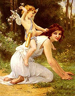 FDerks Wall Plaque 8X12 Inch Nice Guillaume Seignac - Angel Cupid`s Folly Venus Landscape Vintage Art Metal Sign Home Hous...