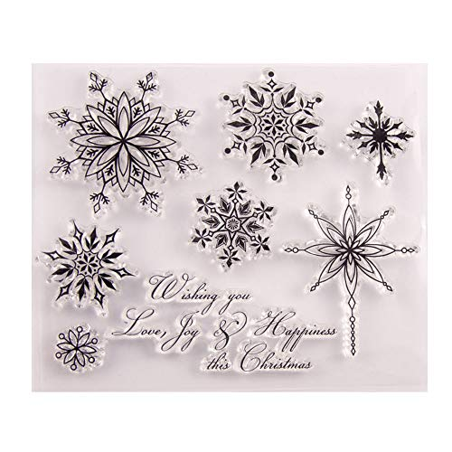 Merry Christmas Christmas Snowflakes Sayings verses Clear Stamps for Christmas Cards Making Decoration and Scrapbooking Rubber Stamps for Craft