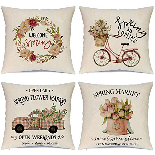 Hlonon Spring Pillow Covers 18 x 18 Inches Set of 4 Spring Decorations Pink Bicycle Flower Red Truck Decor Linen Zippered Square Throw Pillow Covers