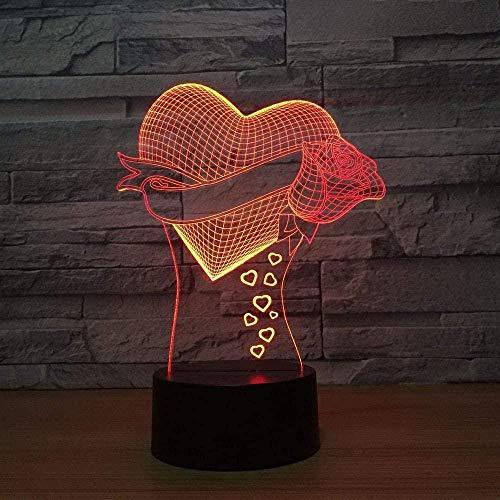 Love 3D luz de noche LED lámpara de mesa deslizante 7 colores variable USB táctil control remoto decoración del hogar regalo de cumpleaños especial para niños