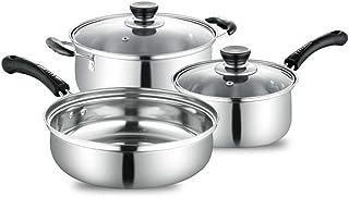 ALX Cocina combinada de ollas y ollas de Acero Inoxidable 3 en 1 para Todo Tipo de Estufas