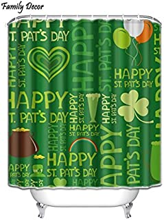 Family Decor Custom Happy St.Patrick's Day Waterproof Fabric Polyester Shower Curtain 72