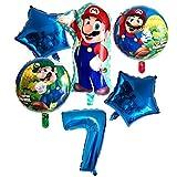 Wgxssjc Globo Globos de Fiesta de cumpleaños número Globos Niño Niña Mario Bros Luigi Mylar Globo Azul Rojo Set Decoración (Color : Blue 7)