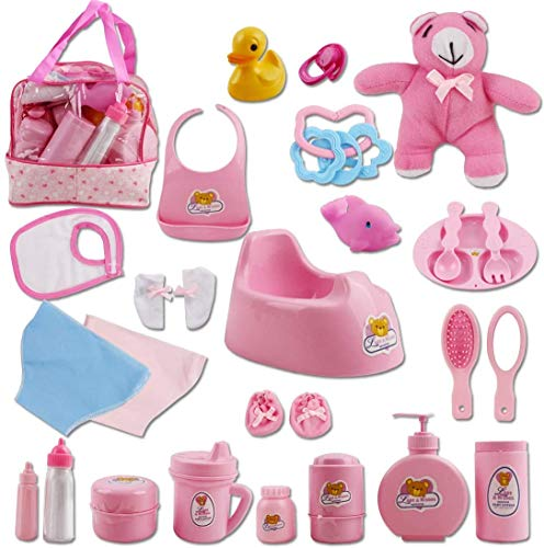 deAO 28 Teiliges Baby Puppen Zubehörset, inklusive einer Tragetasche, Kleidung, Teddybär, Badespielzeug und vieles mehr – schönes Spielset für Ihr Kind um die Puppenkollektion Ihres Kindes zu ergänzen