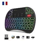 Original Rii X8 AZERTY, Mini clavier Rétroéclairé sans fil avec Touchpad, LED Rétro-éclairé, pour Smart TV, PC, mini...