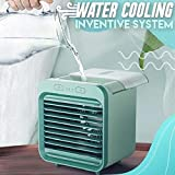 Air Cooler USB Mini Rechargeable Water-Cooled Air Conditioner Eco-Friendly Humidifier Table Fan with 3 Fan Speeds Include Dual Battery,Suit for Dormitory Office Desktop… (Green, USB Rechargeable)