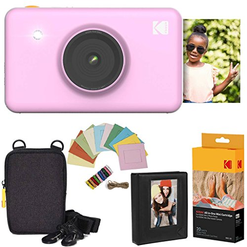 Kodak Mini Shot Instant Camera (Pink) Deluxe Bundle + Paper (20 Sheets) + Deluxe Case + Photo Album + Hanging Frames