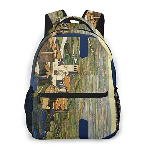 Lawenp Lightweight Schoolbags For Girls Blue Red Owl Backpacks For Women Shoulder Bag Fits 14 Inch Laptop