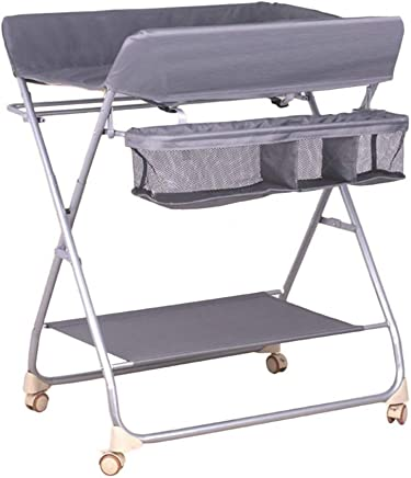 LXCS Baby care station Baby Changing Table  Newborn Massage Table  Kindergarten Folding Dressing Station With Storage Bag  Baby Diaper Table  Color Gray