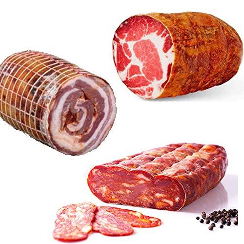 Trio kalabresischer Wurstwaren schiacciata 400 gr + pancetta 500 gr + capocollo 500 gr Kalabrischen Scharf Salami Salame aus Kalabrien Italienische Aufschnitt Kalabrische Wurst