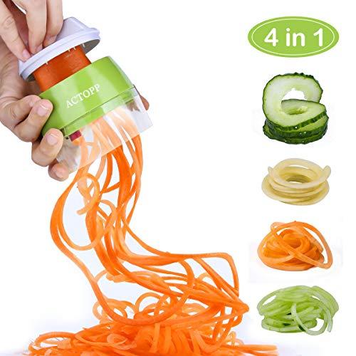 ACTOPP Gemüsenudeln Spiralschneider 4 in 1 manuell Gemüseschneider 3 Klingen Gemüsespaghetti Kartoffelschneider Spargelschäler Gurkenschneider Gemüsehobel für Karotte Gurke Kartoffel Zucchini