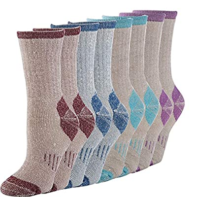 1 2 3 4 Pairs Thermal 70% Merino Wool Socks Thermal Hiking Crew Winter Women's (4pair ass Dark Blue+Dark Red+ bule+purple Women)