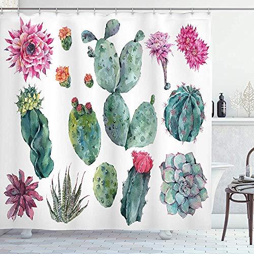 ASDAH Natuur Douchegordijn Woestijn Botanische Kruiden Cartoon Stijl Cactus Plant Bloem met Spikes Print Doek Stof Badkamer Decor Set met Haken Groen Roze 66 * 72in