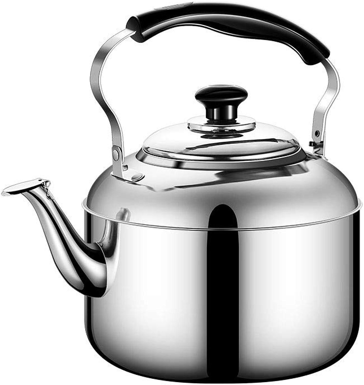 KEHUITONG Acier inoxydable, bouilloire à sifflet, gaz domestique, cuisinière à gaz, bouilloire, théière, grande capacité, argent cuisinière à induction (capacité   8L, Couleur   argent)