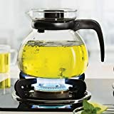 Foroo Glass Kettle Borosilicate Carafe Round,Flame Proof Glass Kettle 900 ml Transparent
