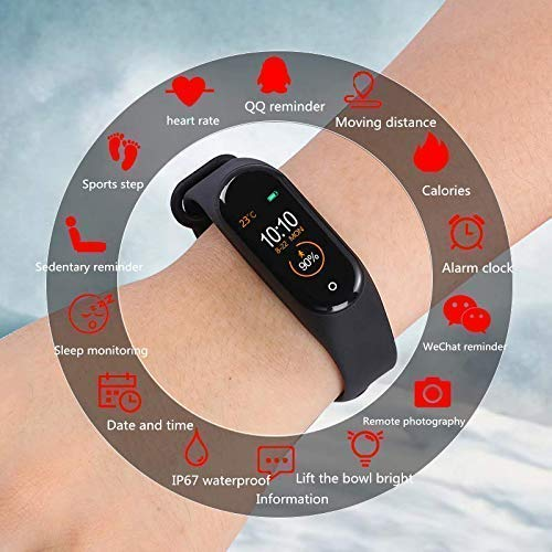 Welrock M4 Smart Band Wireless Sweatproof V4.0  Fitness Band  Activity Tracker  Blood Pressure  Heart Rate Sensor  Sleep Monitor  Step Tracking All Android Device & iOS Device Pro_M4 (Black)