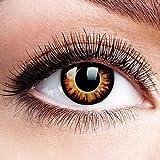 Farbige Kontaktlinsen mit Stärke Twilight Linsen Halloween Karneval Fasching Cosplay Crazy Gelbe Auge linsen Gelb Dämon Vampir Eye -2,5 dpt