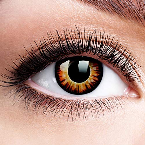 Farbige Kontaktlinsen mit Stärke Twilight Linsen Halloween Karneval Fasching Cosplay Crazy Gelbe Auge linsen Gelb Dämon Vampir Eye -1 dpt
