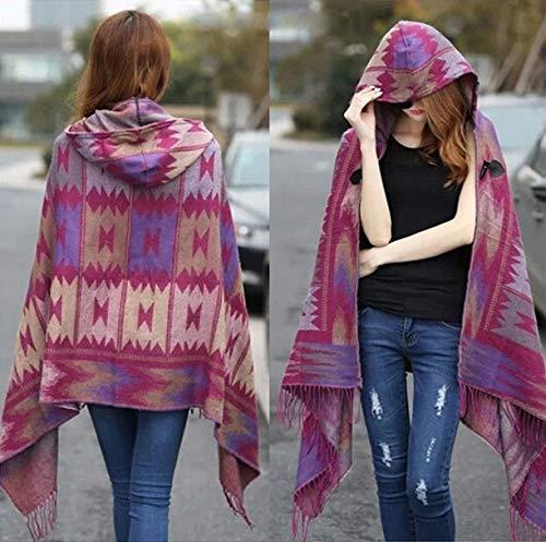 YYHAOGE Damen Winter Bohemian Hooded Coat Cape Poncho Schal Schal Imitation Fransen Jacke GeschenkeF.